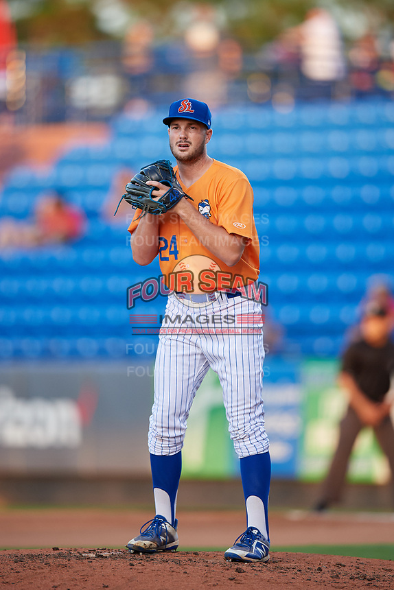 St. Lucie Mets relief pitcher Austin McGeorge (24) gets ready to deliver a pitch during a game against the Daytona Tortugas on August 3, 2018 at First Data Field in Port St. Lucie, Florida.  Daytona defeated St. Lucie 3-2.  (Mike Janes/Four Seam Images)