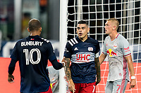 FOXBOROUGH, MA - AUGUST 29: Gustavo Bou #7 of New England Revolution acknowledges pass/assist from Teal Bunbury #10 of New England Revolution during a game between New York Red Bulls and New England Revolution at Gillette Stadium on August 29, 2020 in Foxborough, Massachusetts.
