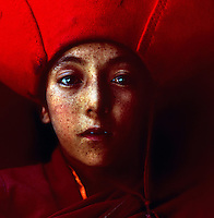 Portrait of child Monk at the Lama Yuru Monastrey, Ladakh, India