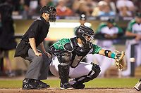Dayton Dragons catcher Hendrik Clementina (24) receives a pitch as home plate umpire Harrison Silverman looks on during the game against the Bowling Green Hot Rods at Fifth Third Field on June 8, 2018 in Dayton, Ohio. The Hot Rods defeated the Dragons 11-4.  (Brian Westerholt/Four Seam Images)