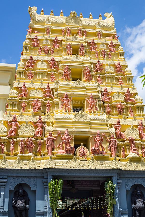 Gopuram (Entrance Tower) with Hindu Deities outside Entrance to Sri Senpaga Vinayagar Hindu Ganesh Temple, Joo Chiat District, Singapore.