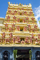 Gopuram (Entrance Tower) with Hindu Deities outside Entrance to Sri Senpaga Vinayagar Hindu Ganesh Temple, Joo Chiat District, Singapore.
