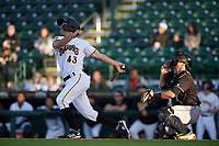 Bradenton Marauders Daniel Amaral (43) at bat during a Florida State League game against the Jupiter Hammerheads on April 19, 2019 at LECOM Park in Bradenton, Florida.  Bradenton defeated Jupiter 7-1.  (Mike Janes/Four Seam Images)