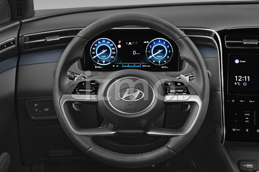 Car pictures of steering wheel view of a 2021 Hyundai Tucson Shine 5 Door SUV Steering Wheel