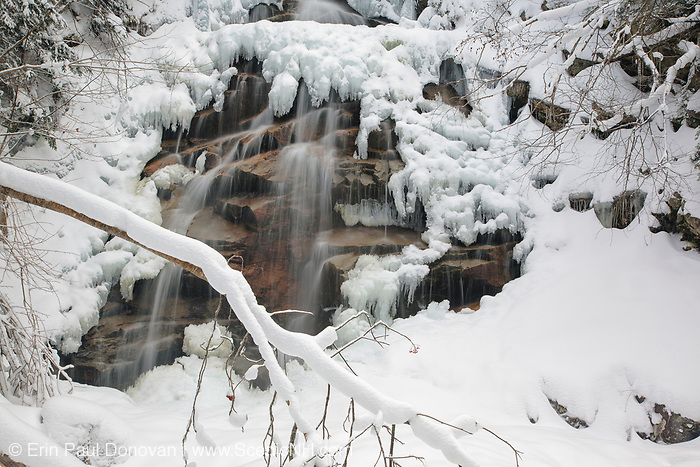 Cloudland Falls in Franconia Notch of the White Mountains, New Hampshire during the winter months. This waterfall is located along Dry Brook, which runs next to the Falling Waters Trail.