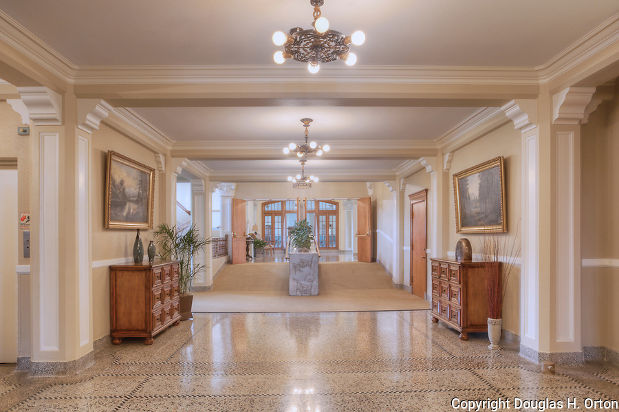 Entrance hallway in Elegant Old Building.  Dating to 1927, the Masonic Retirement Center, locally known as the Masonic Home, in Des Moines, Washington is now an elegant event center available for rental.  In the historic Zenith neighborhood of the city of Des Moines. Please conact douglasorton@comcast.net regarding licensing of this image.