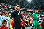 Nahuel Guzman of Argentina getting into the field during the International Test match between Argentina and Singapore at National Stadium on June 13, 2017 in Singapore. Photo by Marcio Rodrigo Machado / Power Sport Images