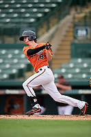 Baltimore Orioles Clay Fisher (78) follows through on a swing during a Florida Instructional League game against the Boston Red Sox on October 8, 2018 at the Ed Smith Stadium in Sarasota, Florida.  (Mike Janes/Four Seam Images)