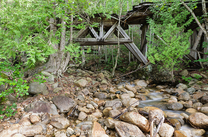 The abandoned Trestle No. 16 (also known as Black Brook Trestle), built in the early 1900s, is along the old East Branch & Lincoln Railroad in the Pemigewasset Wilderness of New Hampshire. In operation from 1893-1948, this was a logging railroad built by the timber baron James E. Henry. And this is how the trestle looked in July 2010.