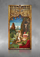 Gothic Catalan Alterpiece of Sant Jeroni Penetant by Mestre de la Seu d'Urgell, circa 1495, tempera and gold leaf on wood, from the church of Santa Maria de Puigcerda, Baixa Cerdanya, Spain.  National Museum of Catalan Art, Barcelona, Spain, inv no: MNAC  15821. Against a grey art background.