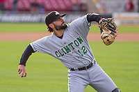 Clinton LumberKings catcher James Alfonso (12) warms up prior to a Midwest League game against the Wisconsin Timber Rattlers on May 9th, 2016 at Fox Cities Stadium in Appleton, Wisconsin.  Clinton defeated Wisconsin 6-3. (Brad Krause/Four Seam Images)