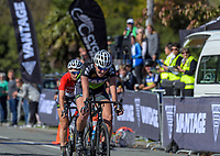 Ally Wollaston wins the Under-19 Women's road race, Carterton-Martinborough-Gladstone circuit, on day two of the 2018 NZ Age Group Road Cycling Championships in Carterton, New Zealand on Sunday, 22 April 2018. Photo: Dave Lintott / lintottphoto.co.nz