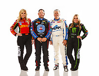 Feb 7, 2018; Pomona, CA, USA; NHRA drivers (from left) Courtney Force, Robert Hight, John Force and Brittany Force pose for a portrait during media day at Auto Club Raceway at Pomona. Mandatory Credit: Mark J. Rebilas-USA TODAY Sports