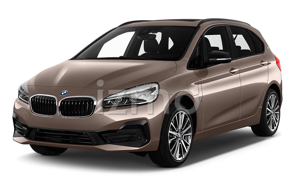 2018 BMW 2 Series 225xe iperformance 5 Door Mini Van angular front stock photos of front three quarter view