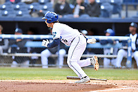 Asheville Tourists shortstop Terrin Vavra (6) runs to first base during a game against the Augusta GreenJackets at McCormick Field on April 5, 2019 in Asheville, North Carolina. The  Tourists defeated the GreenJackets 5-0. (Tony Farlow/Four Seam Images)