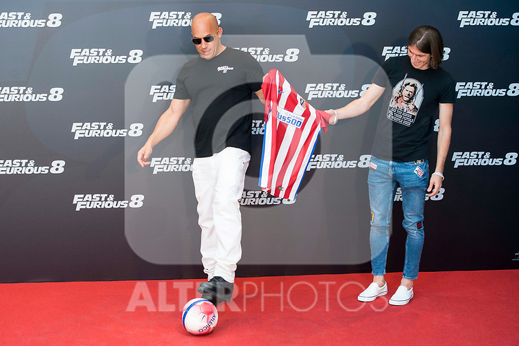 "American actor Vin Diesel with Atletico de Madrid's player Filipe Luis (R) during the presentation of the film ""Fast & Furious 8"" at Hotel Villa Magna in Madrid, April 06, 2017. Spain.<br /> (ALTERPHOTOS/BorjaB.Hojas)"