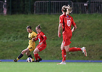 Standard's Sanne Schoenmakers (8) (L) and Woluwe's Stefanie Deville (3) (R) battle for the ball during a female soccer game between FC Femina WS Woluwe and Standard Femina de Liege on the fourth match day of the 2020 - 2021 season of Belgian Womens Super League , Friday 8th of October 2020  in Liege , Belgium . PHOTO SPORTPIX.BE   SPP   SEVIL OKTEM