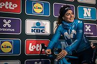 Sheyla Guitierrez (ESP/Movistar) pre race<br /> <br /> <br /> 75th Omloop Het Nieuwsblad 2020 (BEL)<br /> Women's Elite Race <br /> Gent – Ninove: 123km<br /> <br /> ©kramon