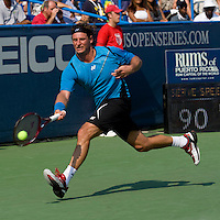 David Nalbandian stretches for a forehand during the Legg Mason Tennis Classic at the William H.G. FitzGerald Tennis Center in Washington, DC.  David Nalbandian defeated Marcos Baghdatis in straight sets in the finals Sunday afternoon.