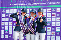 INDIVIDUAL 1-2-3 FOR GREAT BRITAIN: 2ND: Piggy March and Brookfield Innocent; 1ST: Nicola Wilson and JL Dublin; 3RD: Sarah Bullimore and Corouet, during the Prizegiving. 2021 SUI-FEI European Eventing Championships - Avenches. Switzerland. Sunday 26 September 2021. Copyright Photo: Libby Law Photography