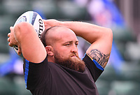 25th September 2021; The Recreation Ground, Bath, Somerset, England; Gallagher Premiership Rugby, Bath versus Newcastle Falcons; Tom Dunn of Bath warms up