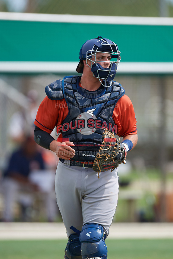 GCL Astros catcher Nate Perry (48) backs up a play during a game against the GCL Marlins on July 22, 2017 at Roger Dean Stadium Complex in Jupiter, Florida.  GCL Astros defeated the GCL Marlins 5-1, the game was called in the seventh inning due to rain.  (Mike Janes/Four Seam Images)