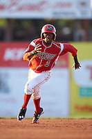 Batavia Muckdogs shorstop Anfernee Seymour (3) running the bases during a game against the Williamsport Crosscutters on July 15, 2015 at Dwyer Stadium in Batavia, New York.  Williamsport defeated Batavia 6-5.  (Mike Janes/Four Seam Images)