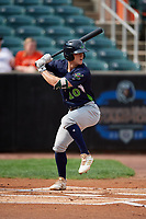 Vermont Lake Monsters Marty Bechina (10) at bat during a NY-Penn League game against the Aberdeen IronBirds on August 18, 2019 at Leidos Field at Ripken Stadium in Aberdeen, Maryland.  Vermont defeated Aberdeen 6-5.  (Mike Janes/Four Seam Images)