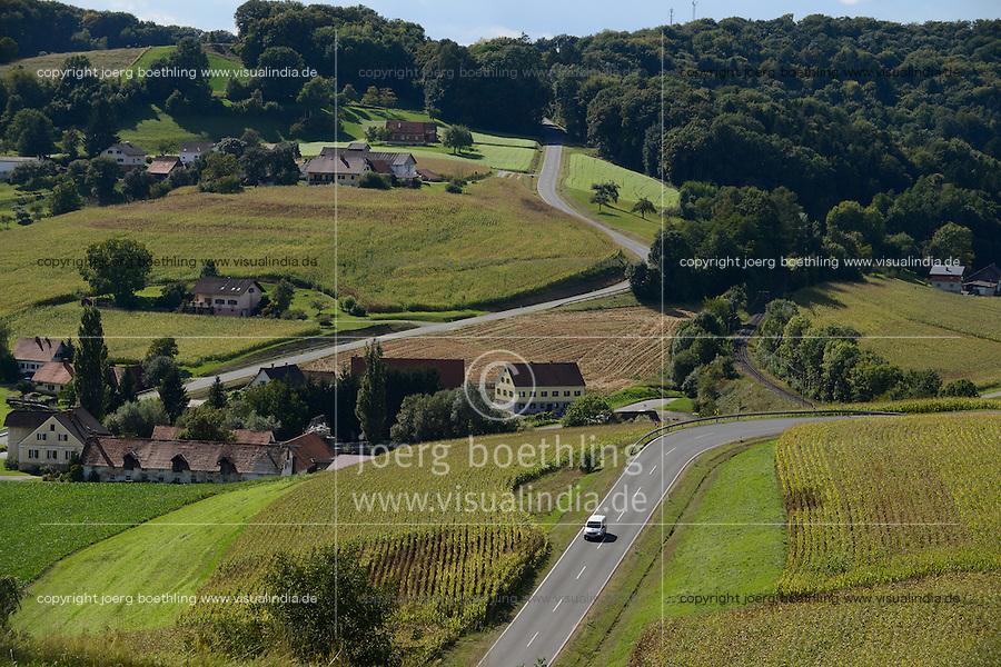 Austria Styria, landscape with maize and forest / Oesterreich Steiermark, Felder mit Mais und Wald, bergige Landschaft