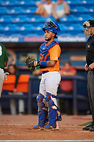 St. Lucie Mets catcher Ali Sanchez (25) during a game against the Daytona Tortugas on August 3, 2018 at First Data Field in Port St. Lucie, Florida.  Daytona defeated St. Lucie 3-2.  (Mike Janes/Four Seam Images)