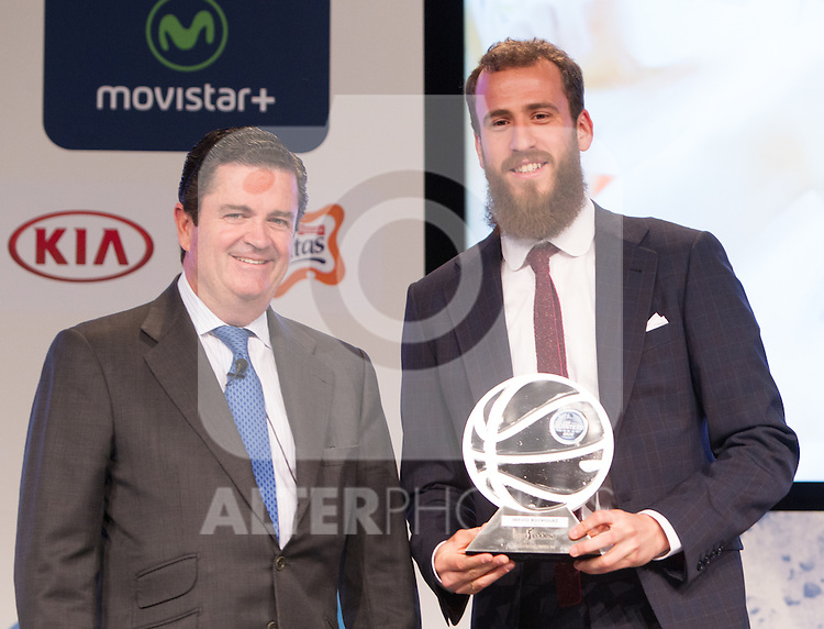 Borja Prado and Sergio Rodriguez during presentation of the Liga Endesa playoff. May 23,2016. (ALTERPHOTOS/Rodrigo Jimenez)