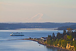 Puget Sound, Port Townsend, Mount Rainier, Washington State Ferry, Point Hudson, sunrise, Olympic Peninsula, Washington State, Pacific Northwest, USA, ferry route: Coupeville to Port Townsend
