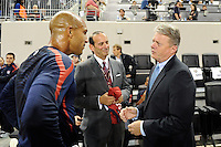Tim Howard, Don Garber, Panasonic NA CEO Joe Taylor. The men's national team of the United States (USA) was defeated by Ecuador (ECU) 1-0 during an international friendly at Red Bull Arena in Harrison, NJ, on October 11, 2011.