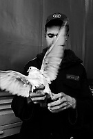 """Teheran, Iran, March 31, 2007.A policeman with with one of dozen doves released during the """"Islamic Republic Day"""" party organized by the municipality in Enqelab square and adjacent avenue. For most people present it was simply a celebration of the coming of the spring during the Iranian New Year (Norouz) holidays.."""