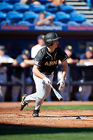 Army West Point third baseman Anthony Giachin (1) at bat during a game against the Michigan Wolverines on February 18, 2018 at First Data Field in St. Lucie, Florida.  Michigan defeated Army 7-3.  (Mike Janes/Four Seam Images)