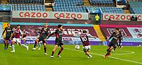 4th October 2020, Villa Park, Birmingham, England;  Aston Villa s Jack Grealish shoots and scores during the English Premier League match between Aston Villa and Liverpool at Villa Park
