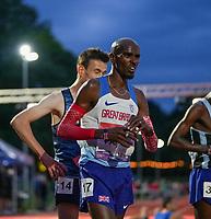 5th June 2021; Birmingham University Athletics Track, Birmingham, Midlands, England; European 10000 Metre Finals, British Olympic Trials 10000 Metre; Mo Farah finish line anguish