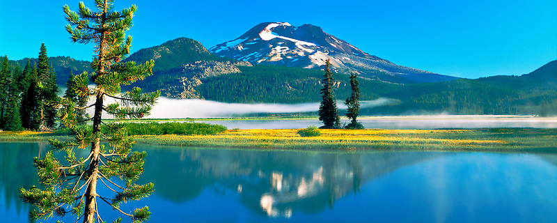 M00083.tiff   South Sister Mountain and Sparks Lake with wildflowers.