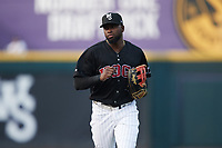 Winston-Salem Warthogs center fielder Luis Robert (19) jogs off the field between innings of the game against the Jersey Shore BlueClaws at Truist Stadium on July 21, 2021 in Winston-Salem, North Carolina. (Brian Westerholt/Four Seam Images)
