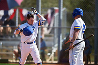 South Dakota State Jackrabbits Braeden Brown (32) celebrates with Josh Falk (19) after hitting a home run during a game against the FIU Panthers on February 23, 2019 at North Charlotte Regional Park in Port Charlotte, Florida.  South Dakota State defeated FIU 4-3.  (Mike Janes/Four Seam Images)