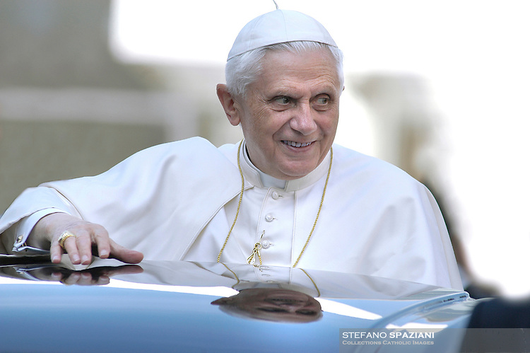 Pope Benedict XVI  from his car, during the weekly general audience at the Vatican, Wednesday Aug. 30, 2006. .. December. 25, 2007.. .