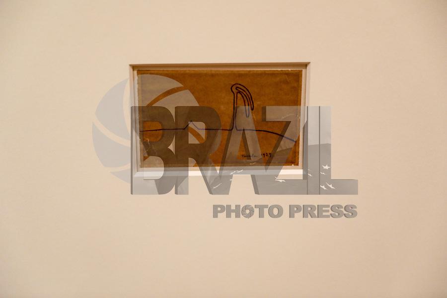 NOVA YORK, EUA, 06.02.2018 - EXPOSIÇÃO-EUA - Vista da exposição da artista mordenista brasileira Tarsila do Amaral no MoMa em Nova York nos Estados Unidos nesta terça-feira, 06 durante sessão de exibição exclusiva para jornaistas, a exposição acontece de 11 de fevereiro até 3 de junho.<br /> Tarsila do Amaral (brasileira, 1886-1973) é uma figura fundamental da história do modernismo na América Latina. A primeira exposição nos Estados Unidos dedicada exclusivamente ao artista centra-se na sua produção fundamental da década de 1920, desde as suas primeiras obras parisienses até as emblemáticas pinturas modernistas produzidas no Brasil, terminando com as suas obras de grande escala e socialmente orientadas no início da década de 1930 . A exposição apresenta quase 120 obras de arte, incluindo pinturas, desenhos, cadernos, fotografias e outros documentos históricos extraídos de coleções em toda a América Latina, Europa e Estados Unidos. (Foto: William Volcov/Brazil Photo Press)