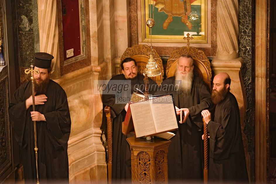 Asie/Israël/Judée/Jérusalem: Cérémonie religieuse à l'église orthodoxe du Saint Sépulcre