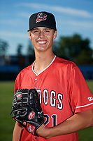 Batavia Muckdogs pitcher Eli Villalobos (21) poses for a photo before a game against the State College Spikes on July 9, 2018 at Dwyer Stadium in Batavia, New York.  State College defeated Batavia 3-0.  (Mike Janes/Four Seam Images)