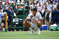 111th July 2021, Wimbledon SW London England, AELTC Wimbledon Tennis Championships, mens final, Novak Djokovic (Ser)  versus Matteo Berrettini (Ita) Novak Djokovic (Ser) celebrates his win in 4 sets