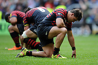 Schalk Brits of Saracens is dejected after losing the Aviva Premiership Rugby Final to Northampton Saints during the Aviva Premiership Final between Saracens and Northampton Saints at Twickenham Stadium on Saturday 31st May 2014 (Photo by Rob Munro)