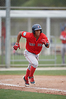 Boston Red Sox Jhon Nunez (31) runs to first base during a minor league Spring Training intrasquad game on March 31, 2017 at JetBlue Park in Fort Myers, Florida. (Mike Janes/Four Seam Images)
