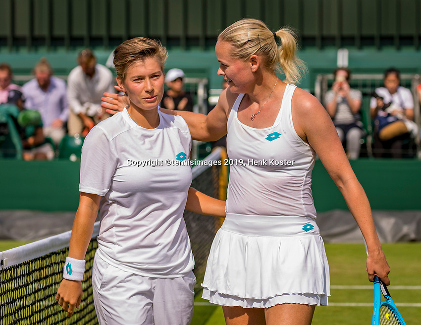London, England, 8 July, 2019, Tennis,  Wimbledon, Women's doubles: Demi Schuurs (NED) and Anna-Lena Groenefeld (GER) (R) celebrate their win<br /> Photo: Henk Koster/tennisimages.com