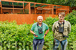 Eamon Meskell (Regional Manager in National Parks and Wildlife Service) and Philip Buckley Jr (Project Site Monitor) from Tarbert standing near the cage at the release of the eagles in Tarbert on Sunday.