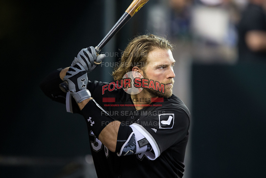 Kevan Smith (36) of the Chicago White Sox studies the pitcher from the dugout during the game against the Detroit Tigers at Comerica Park on June 2, 2017 in Detroit, Michigan.  The Tigers defeated the White Sox 15-5.  (Brian Westerholt/Four Seam Images)